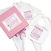 Personalised Twinkle Girls Pink Gift Set - Babygrow & Bib