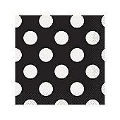Black Polka Dot Paper Beverage Napkins 2ply
