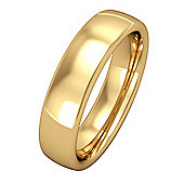 Jewelco London 18ct Yellow Gold - 5mm Premium Bombe Court-Shaped Band Commitment / Wedding Ring - Size Z 1/2
