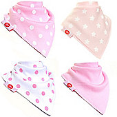 Zippy Boxed Gift Set of 4 Fun Bandana Dribble Bibs - Pink and White