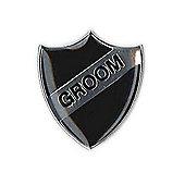 Retro Black Shield Groom Wedding Badge