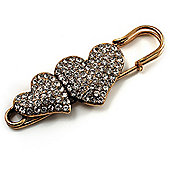 Vintage Swarovski Crystal Heart Pin Brooch (Antique Gold)