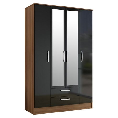 Birlea Lynx 4 Door 2 Drawer Wardrobe with Mirror - Black and Walnut