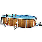 White Coral Wood Effect Oval Steel Pool 6.4m x 3.66m