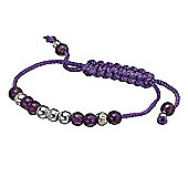 Amethyst and Silver Bead Friendship Bracelet