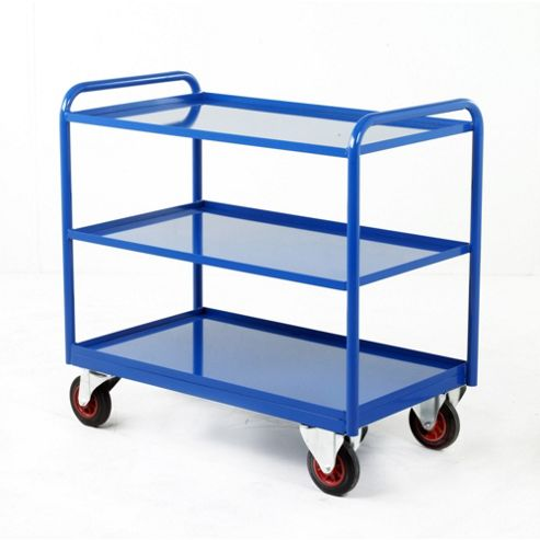 Industrial Three Tray Trolley with Steel Panel Trays