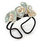 Chunky Sea Shell Flower Wired Cuff Bracelet - Adjustable (White/ Sea Green)