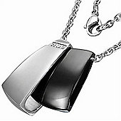 Urban Male Unusual Men's Black & Silver Coloured Pendant & Chain