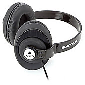 NGS 940212 Flap Neck Style Stereo Headphones with Built-in Microphone and SuperBass Technology, Black