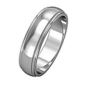 18ct White Gold - 5mm Essential D-Shaped Track Edge Band Commitment / Wedding Ring -