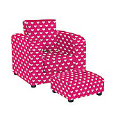 Chair with Footstool - Pink Hearts