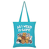 All I Need Is Cats Azure Blue Tote Bag