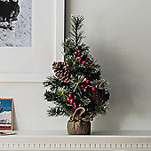 45cm Mini Artificial Christmas Tree with Pinecones & Berries