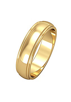 9ct Yellow Gold - 5mm Essential D-Shaped Track Edge Band Commitment / Wedding Ring -