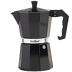 VonShef 6 Cup Espresso Coffee Maker - Black