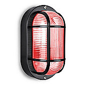 Carnforth IP44 Outdoor Security Bulkhead in Gloss Black with 4W Red LED Golfball Bulb