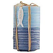 Two Tone Rustic Pillar Candle 2 Pack Small Blue