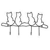Kitty - Cat Themed 4 Hook Wall Coat / Hanging Hooks - Black