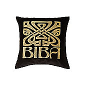 Velvet Biba Logo Cushion - Black