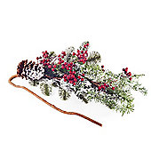 Snow Covered Artificial Fir Tree Branch with Red Berries & Pine Cone