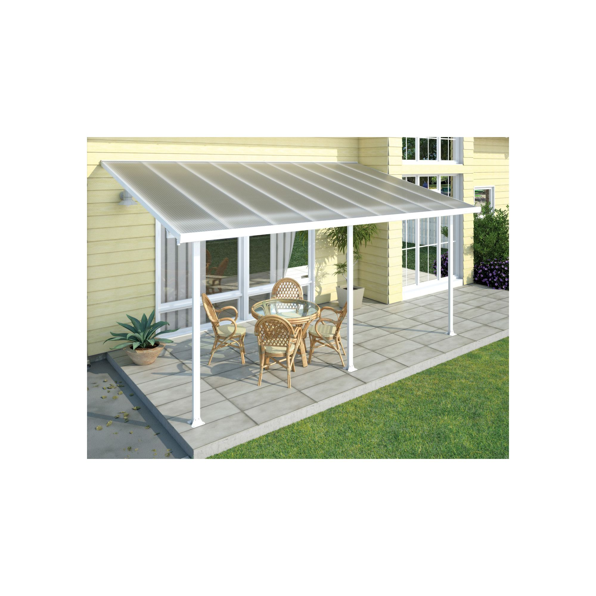 FERIA LEAN TO CARPORT AND PATIO COVER 4X8.5 WHITE at Tesco Direct