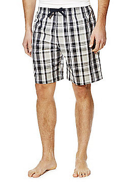 F&F Checked Woven Lounge Shorts - Black
