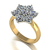 18ct Gold 7 Stone Moissanite Cluster Ring