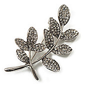 Delicate Clear Crystal Leaf Brooch (Silver Tone Metal)