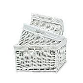 White Wicker Storage Baskets - Set of 3