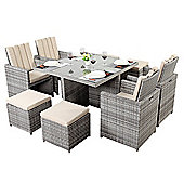 Home Etc Luxe Square 4 Seater Dining Set with Cushions - Rustic Grey