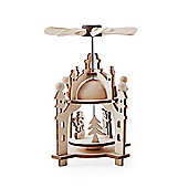 Festive Laser Cut Wooden Whirligig Windmill Ornament with Snowman
