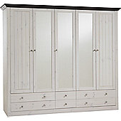 Home Essence Riviera 5 Glazed Door 6 Drawer Wardrobe