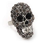 Dazzling Black Crystal Skull Ring In Rhodium Plating - Adjustable - 3cm Length