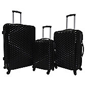 Luggage Zone Honeycomb 4-Wheel Black 3pc Suitcase Set