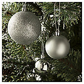 Tesco Mixed Bauble Pack,  Silver, 40 Piece