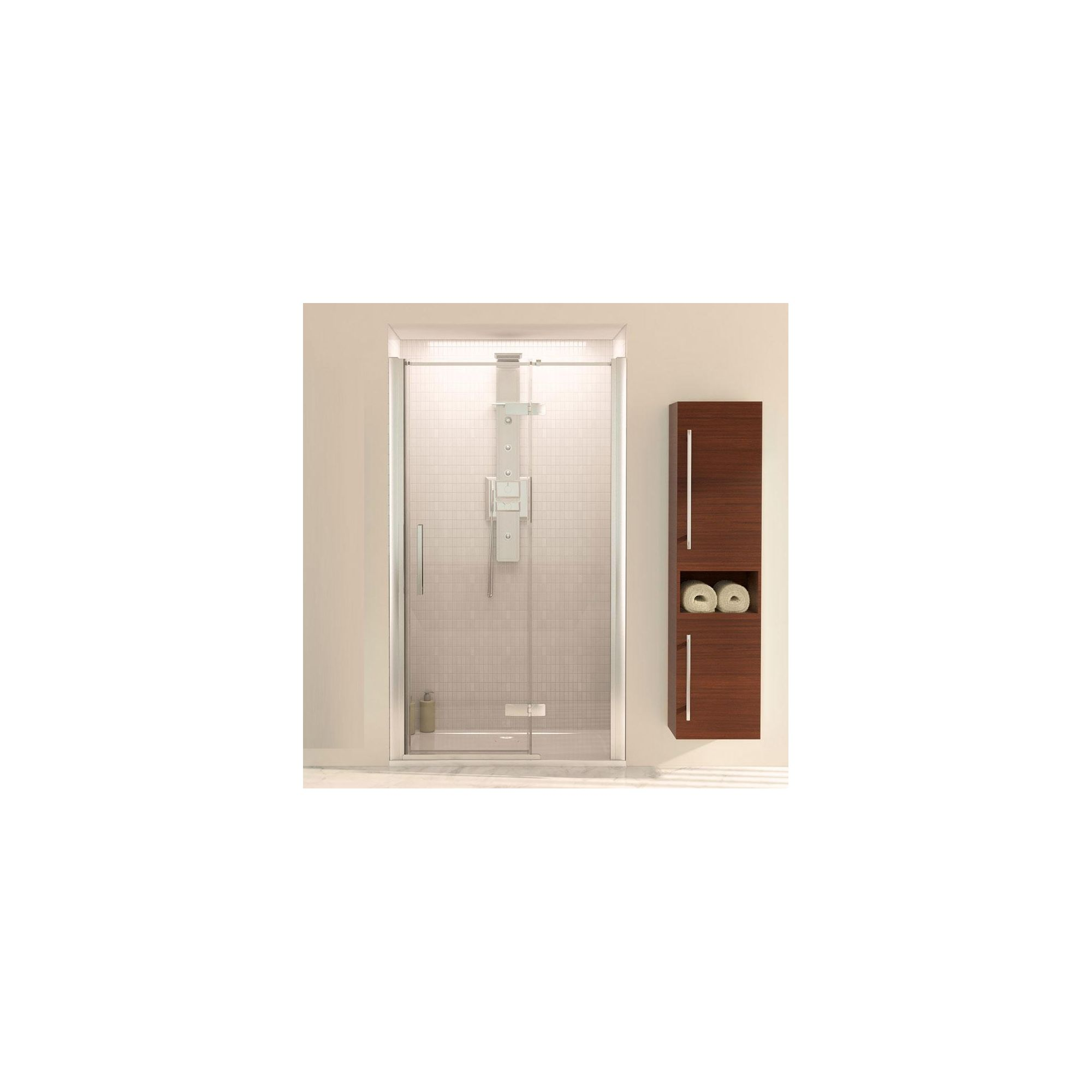 Aqualux AQUA8 Hinge Inline Pivot Shower Door and Side Panel, 1200mm x 760mm, Polished Silver Frame, 8mm Glass at Tesco Direct