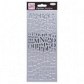 Outline Stickers Mixed Serif Alphabets Silver