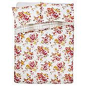 Tesco Watercolour Floral Duvet Cover And Pillowcase Set, Orange, Single