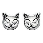 Girl's Sterling Silver Cat Stud Earrings