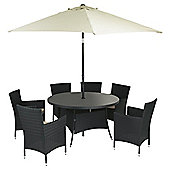 Marrakech 8-piece Rattan Garden Lounge Set, Black & Cream