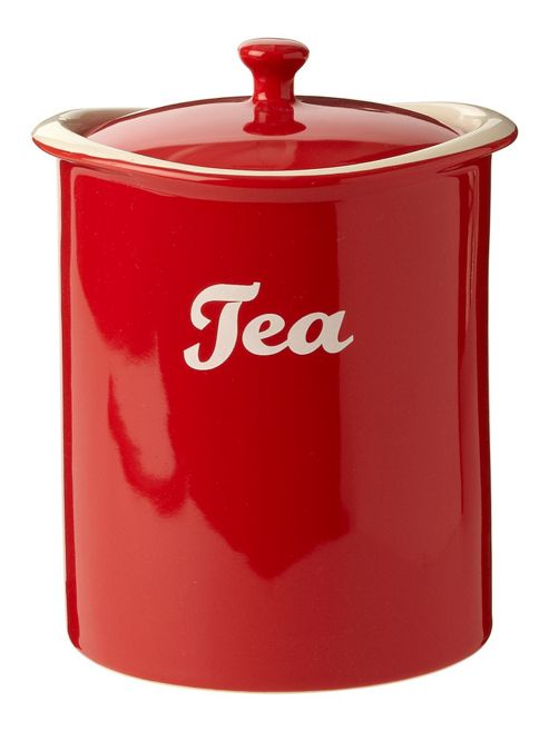 Linea Ceramic Curve Tea Jar In Red