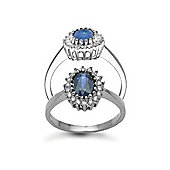 Jewelco London 9 Carat White Gold 23pts Diamond & Sapphire Ring
