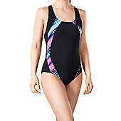 Polka Pacer Panel Swimsuit - Black/Pink - Black