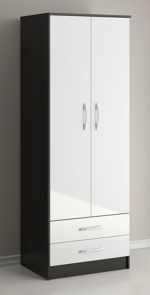 Birlea Lynx Two Drawer Wardrobe - Black and White