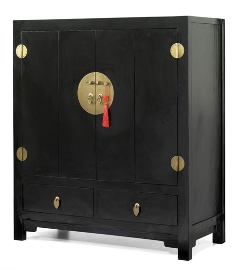Shimu Chinese Classical TV Stand - Black Lacquer