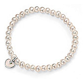 D for Diamond Girls Pearl Bracelet with Mother of Pearl Heart - B4314W