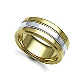 Jewelco London Bespoke Hand-Made 18 carat Yellow & White Gold 9mm Flat Court Wedding / Commitment Ring,