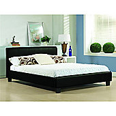 """Black Low End Faux Leather Bed Frame - Double 4ft 6"""""""