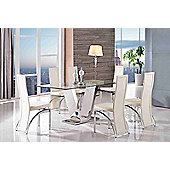 Valentino Designer Glass and Stainless Steel 160 cm Dining Table with 6 Ivory Alisa Chairs