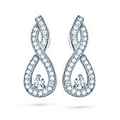The REAL Effect Rhodium Coated Sterling Silver Cubic Zirconia TearDrop Twists Drop Earrings